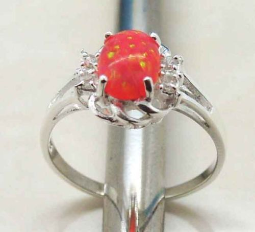 A276 Size 6 925 Sterling Silver Pink Opal Ring New Arrived   eBay