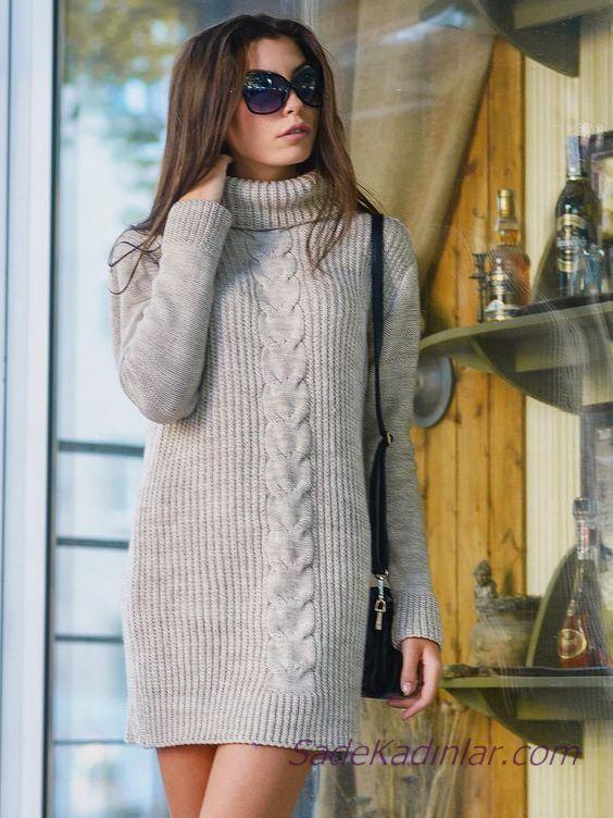 2020 Bayan Kış Modası Triko Elbise Krem Kısa Boğazlı Desenli