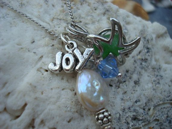 Starfish Seaglass Surfer Girl Cluster Necklace by JeDonnea on Etsy, $22.00