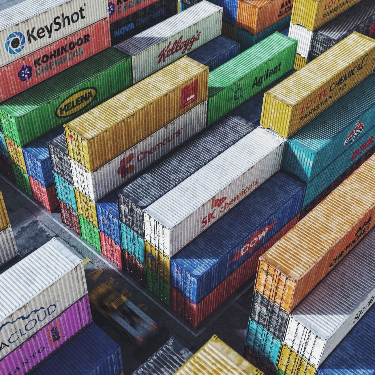 Truck container yard, rendered in KeyShot by Hossein Alfideh.