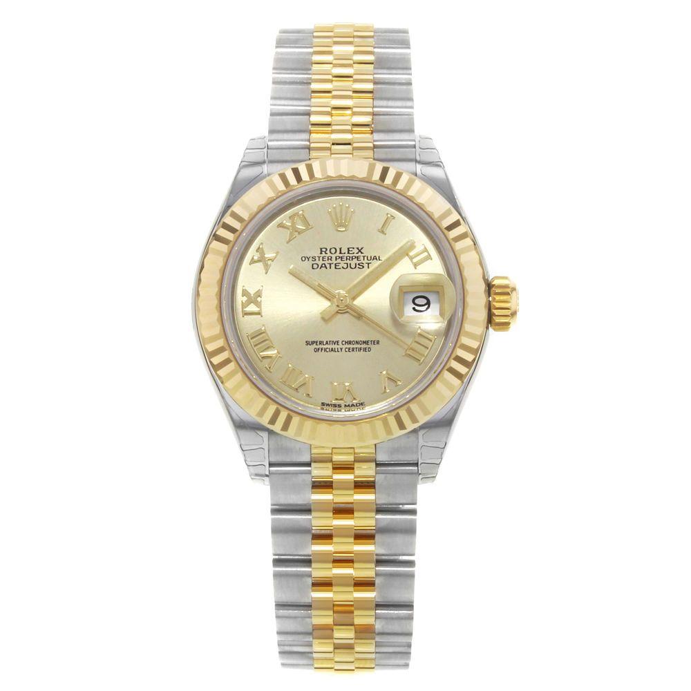 Rolex datejust champagne roman dial jubilee bracelet ladies watch
