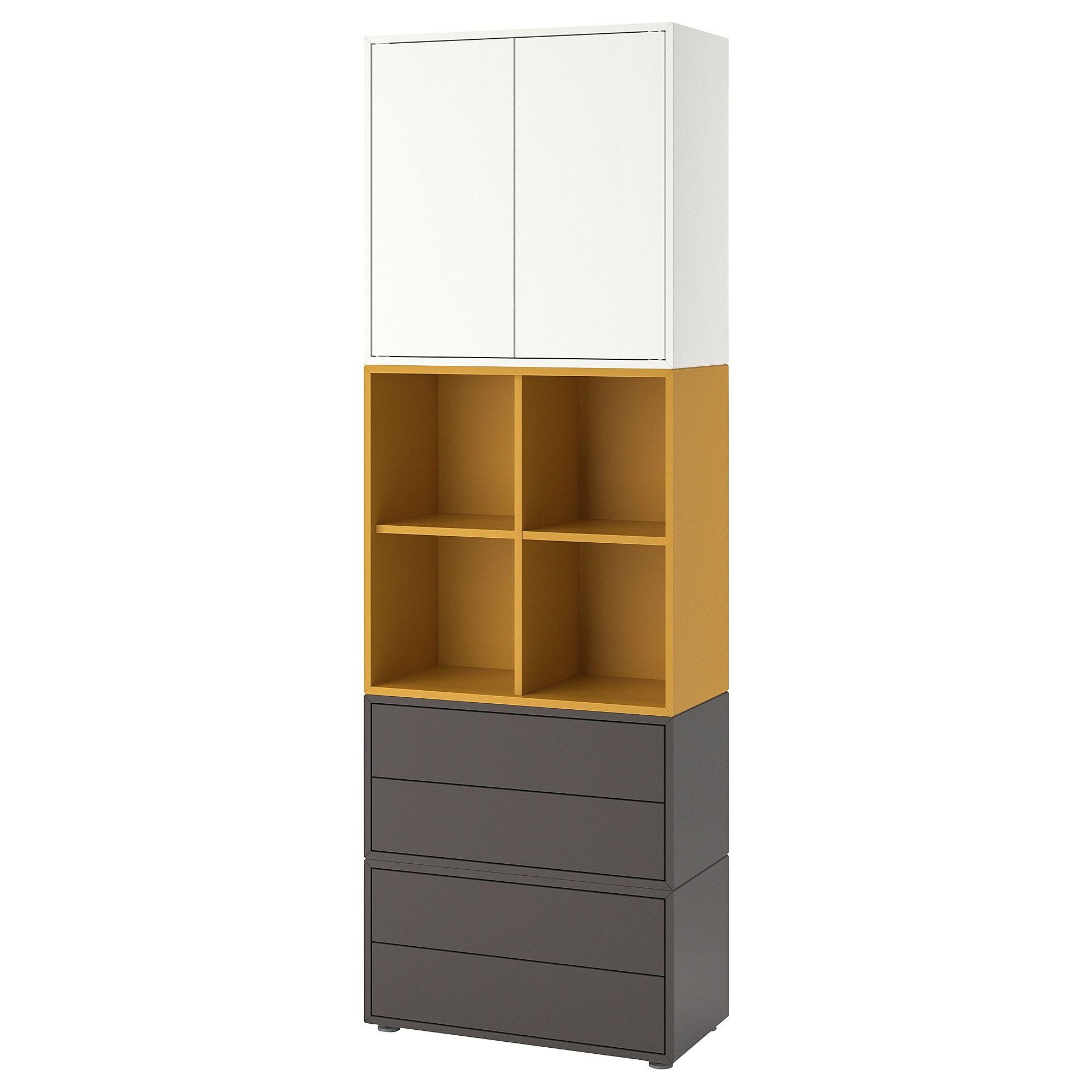 EKET Storage combination with feet, white, golden brown