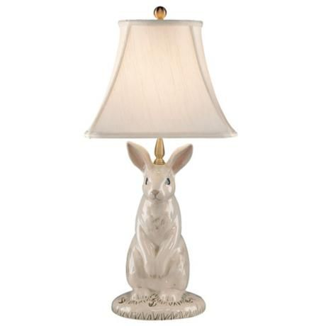 Wildwood Hand Painted Porcelain Dignified Rabbit Table Lamp P4148 Lamps Plus Bunny Lamp Hand Painted Porcelain Kids Table Lamp