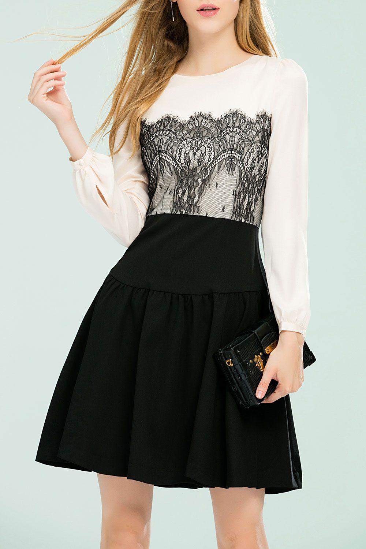 Lace Spliced A Line Dress
