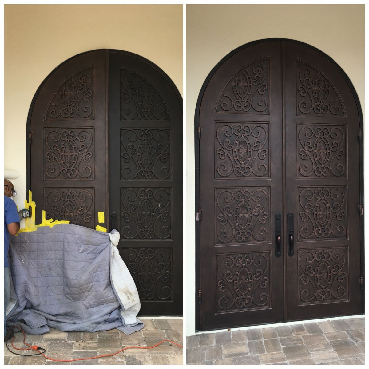 Big 10ft Full Arch Iron Door Needed A Hinge Replaced Welded On And A New Faux Finish Job Took Two Days But It Came