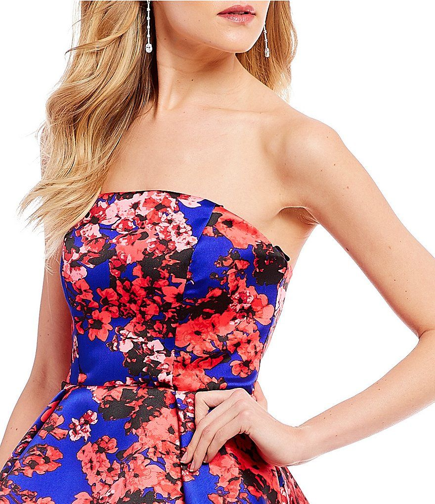 59a33684a B. Darlin Strapless Floral Long High-Low Dress