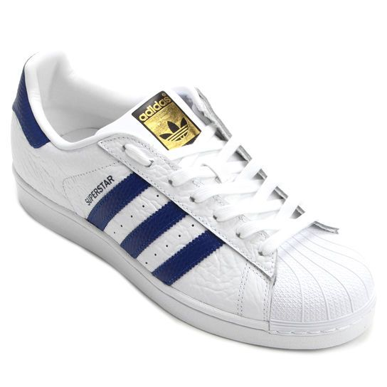 Tênis Adidas Superstar Animal Pack Branco e Azul | Tenis