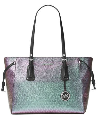 Voyager Medium Multifonction Top Zipped Tote Bag in Black Leather Michael Michael Kors 1X0Twp9JeG