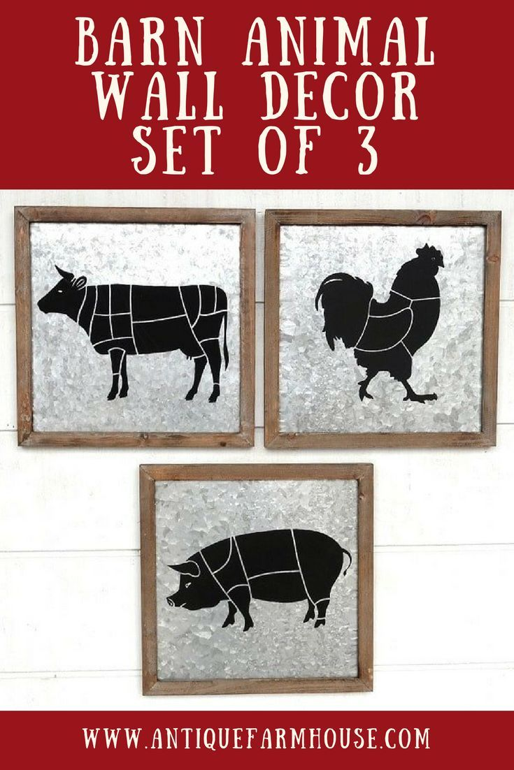 A butchers cut barn animal wall decor set of kitchen farmhouse