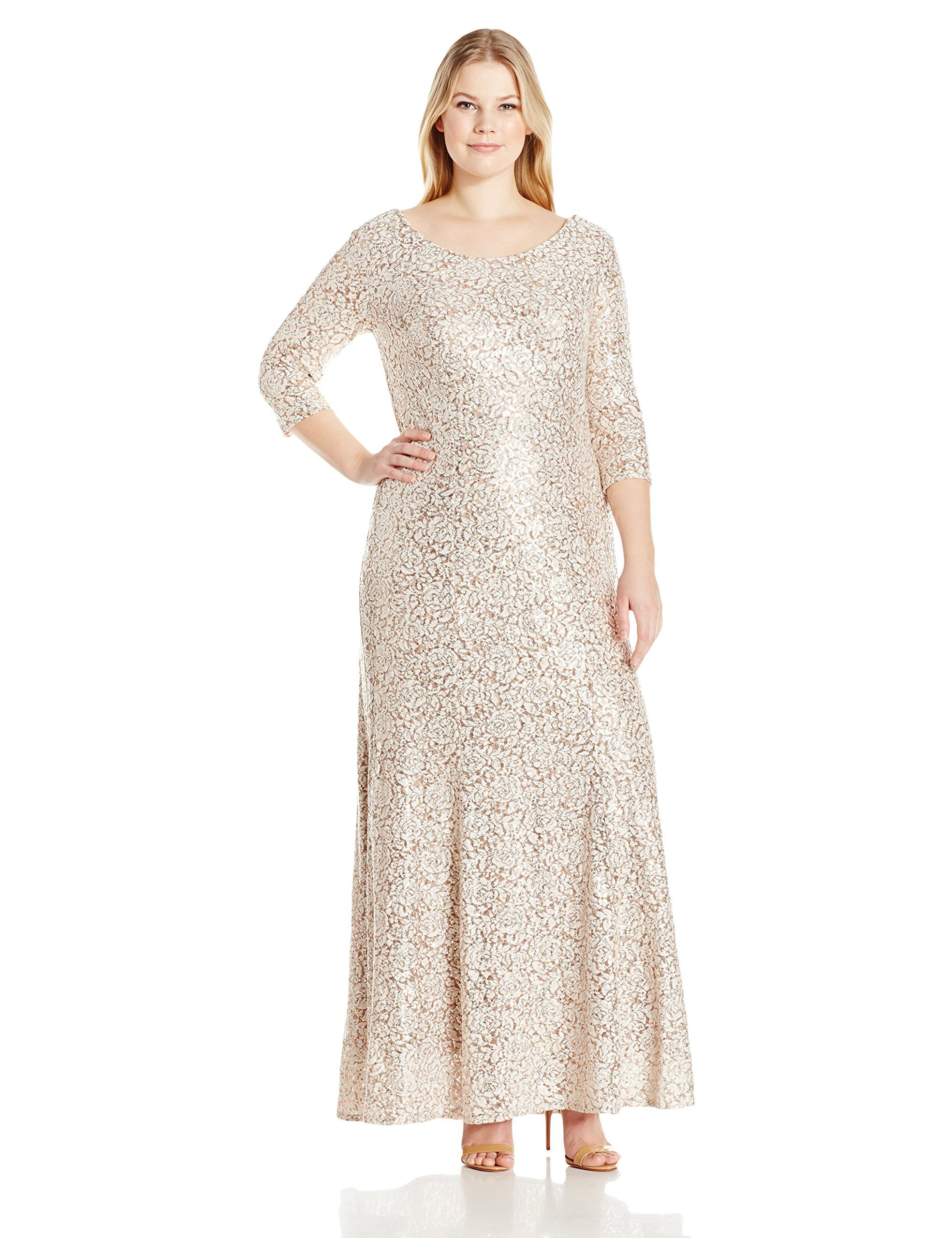 4d9f9dafc8e Alex Evenings Womens PlusSize Fit and Flare Lace Dress Champagne Ivory 20W     Check this awesome product by going to the link at the image-affiliate  link.