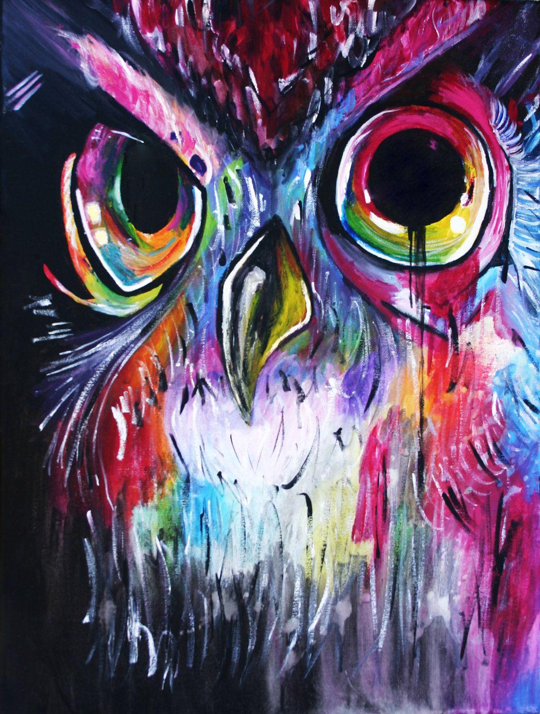 Rainbow Owl Painting