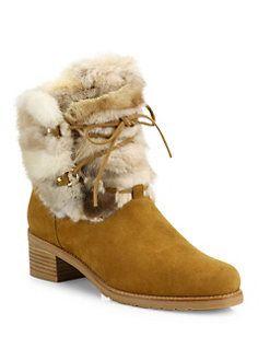 016b6ca9031 Stuart Weitzman - Furnace Mink Fur   Suede Lace-Up Booties