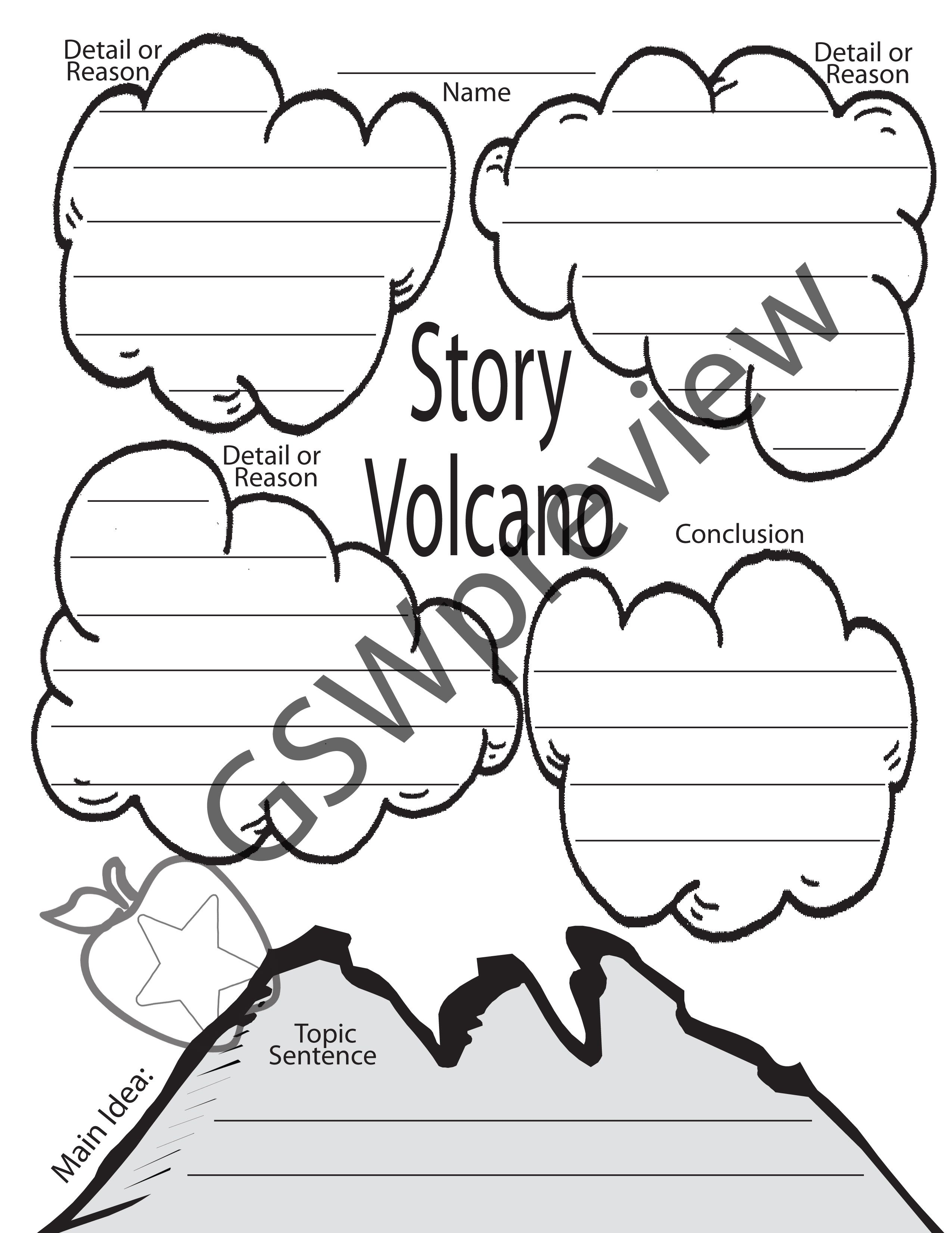 Volcano Graphic Organizer For Young Writers Sell Your