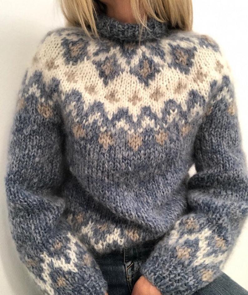 My Etne sweater knittingpattern, in alpaca and moh