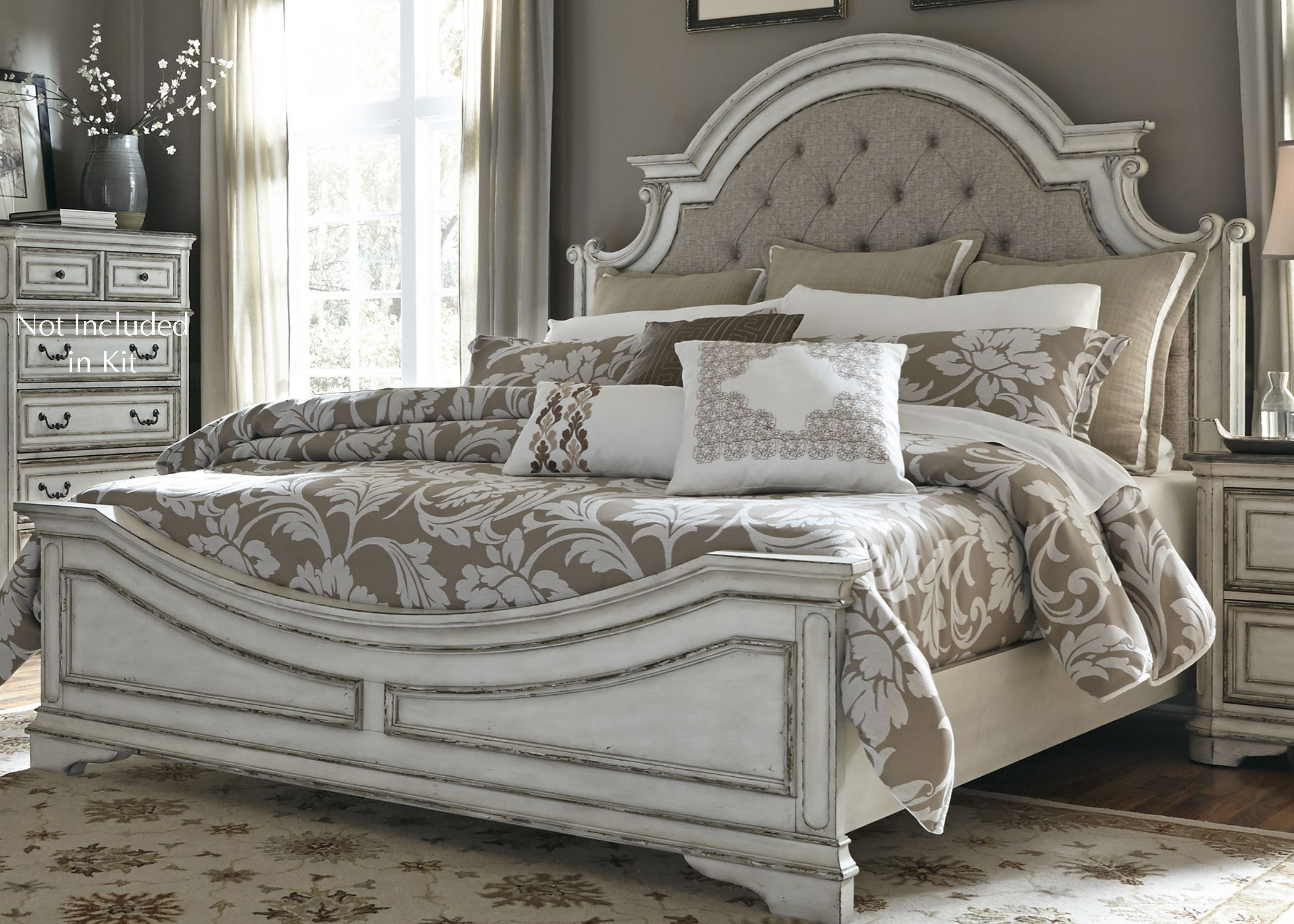 Magnolia Manor Antique White Upholstered Panel Bedroom Set | Home ...