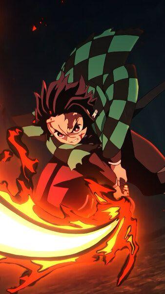 Tanjiro Flaming Katana Kimetsu No Yaiba 4k Hd Mobile Smartphone And Pc Desktop Laptop Wallpaper 3840x2160 1920x1080 2160x384 Anime Anime Guys Anime Demon