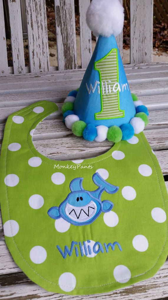 Boys 1st Birthday Shark Hat And Bib