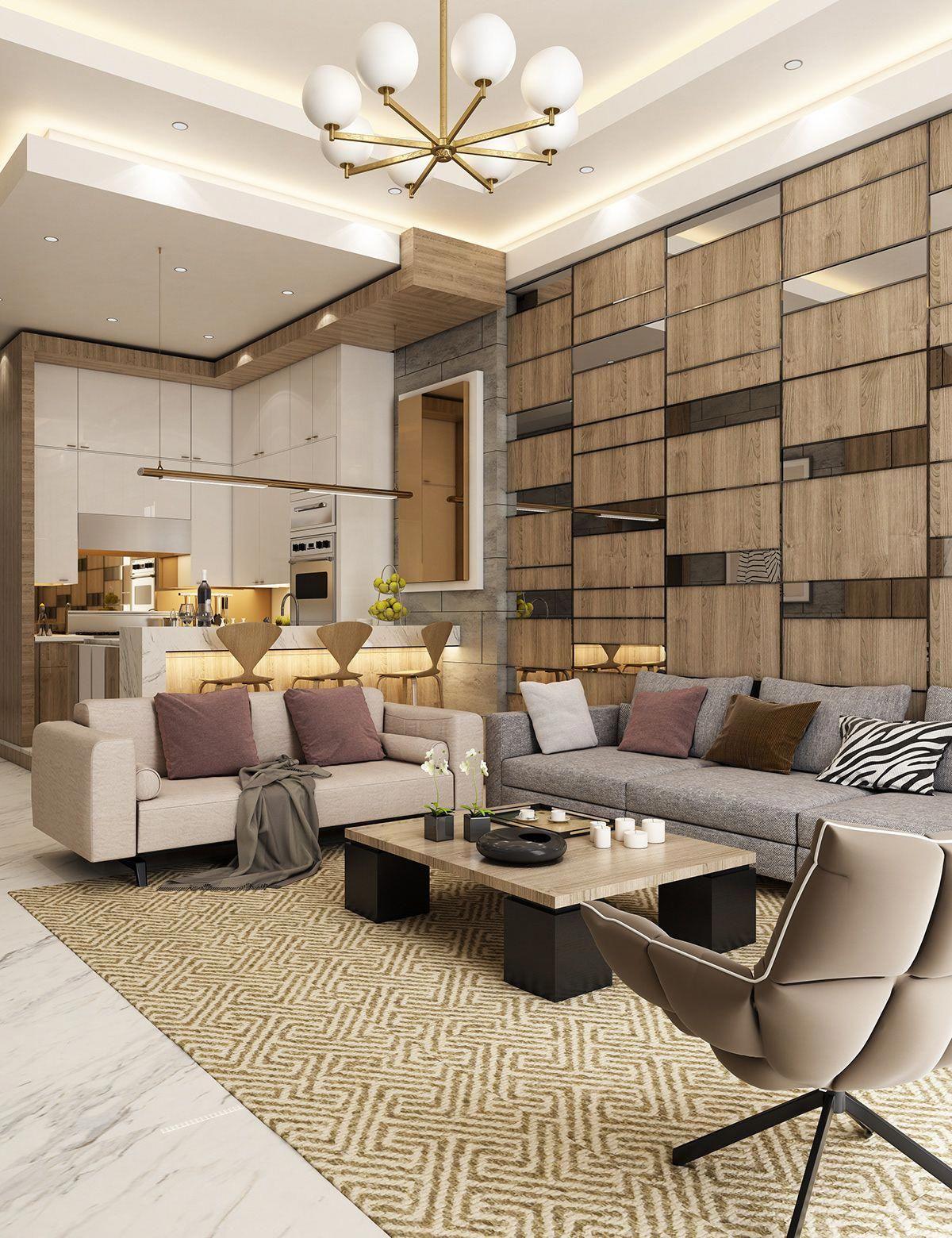 Contemporary apartment design on behance modernhomedecorkitchen also rh pinterest