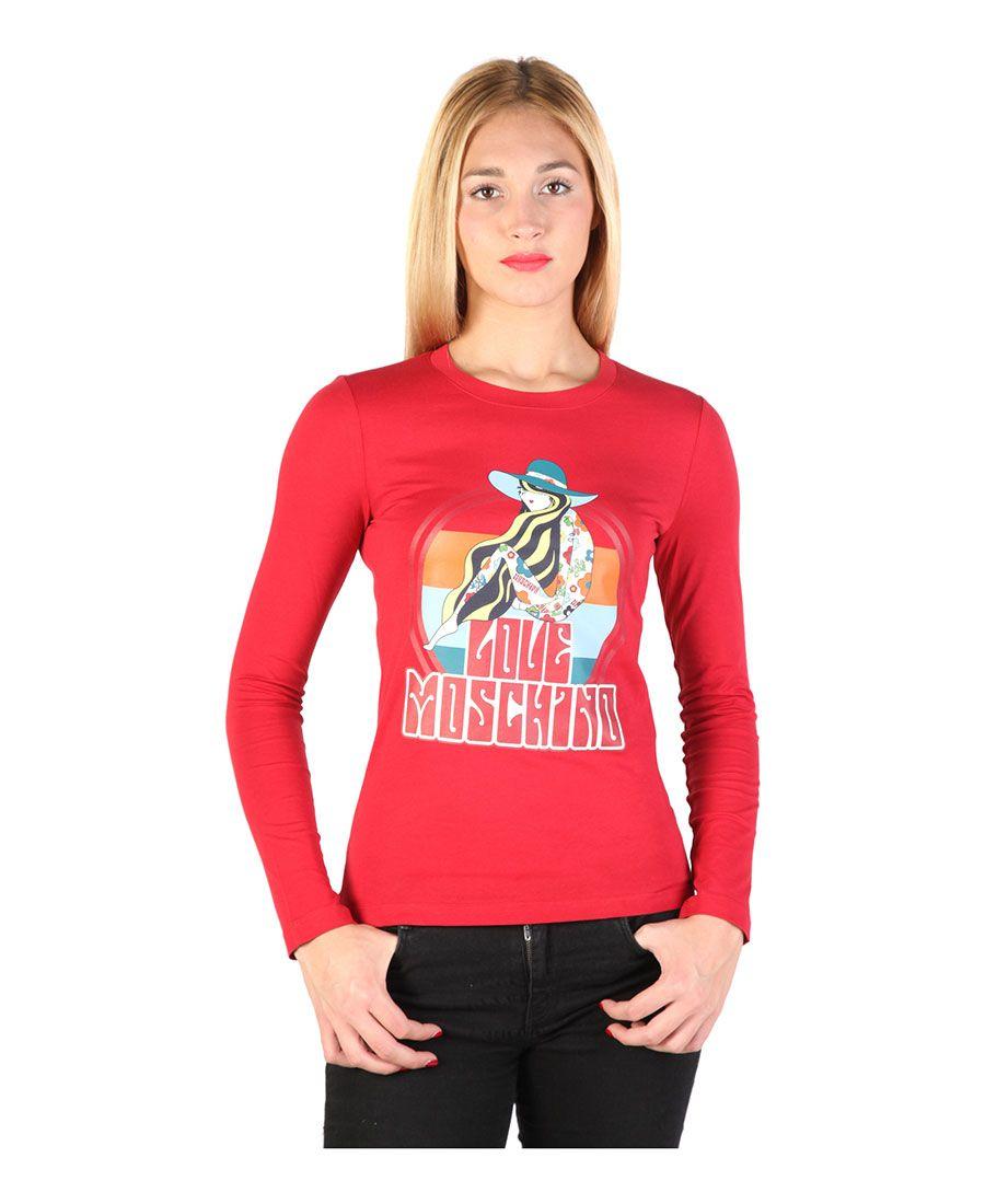 T-shirt, long sleeves - 100% cotton - wash at 30° - italian size - T-shirt women Red