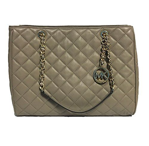 2b04f31eb2a Michael Kors Susannah Womens Large Quilted Leather Handbag (DK Taupe ...
