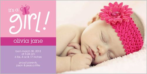 Butterfly Baby Girl Birth Announcement Kid Stuff – Baby Girl Announcements Pinterest