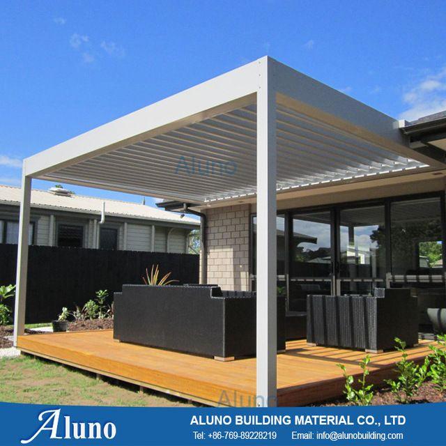 Online Shop Aluno 4m 4m Outdoor Customized Aluminum Garden Sunshining Waterproof Louvre Roof With Rain Sensor Pergola Pergola Patio Pergola Shade