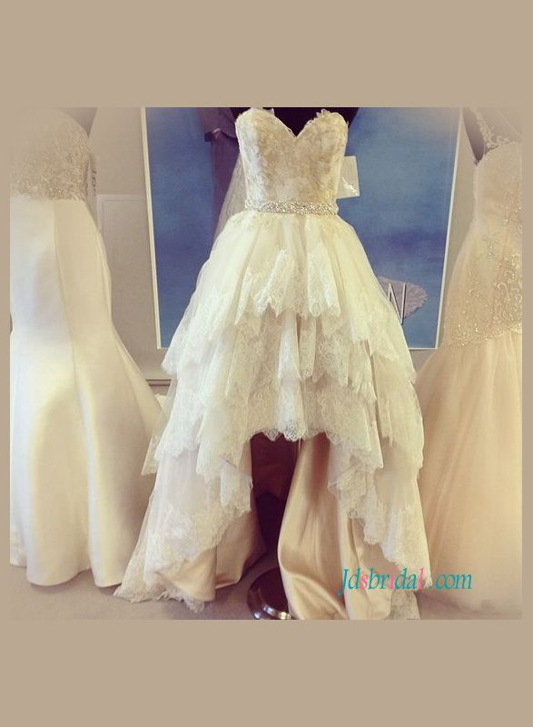 Romance Sweetheart Neck High Low Lace Wedding Dress With Tiered