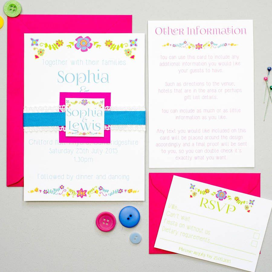 mexican embroidery wedding invitation bundle wedding invitations