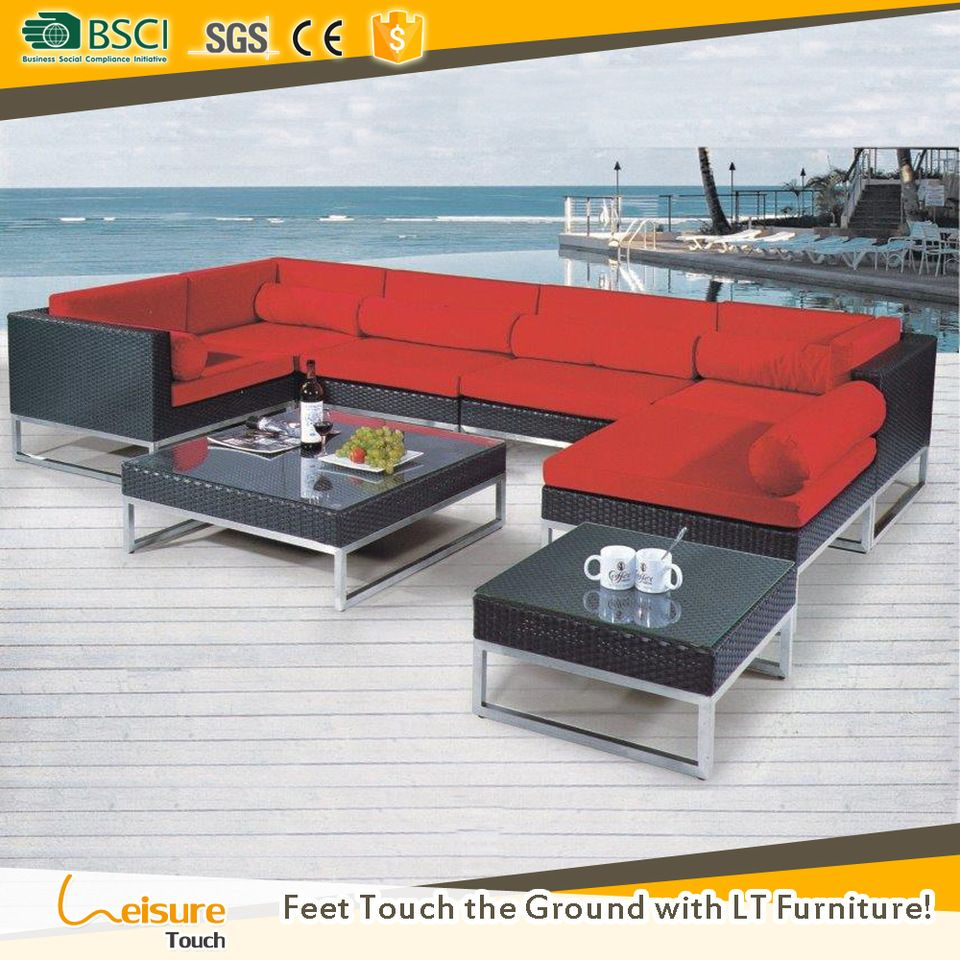 best deals black pe rattan garden l shaped sofas set for wicker sectional sofa outdoor furniture