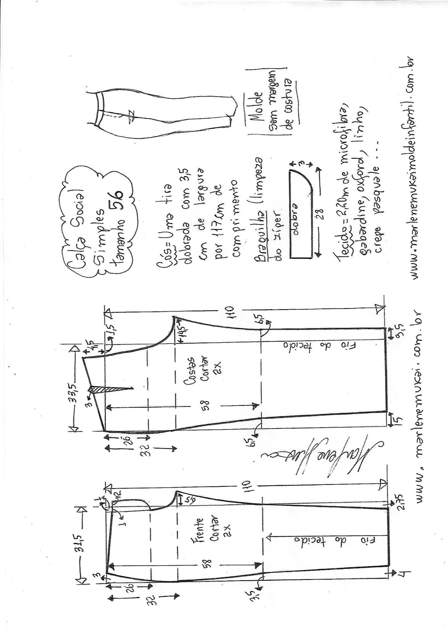 Calça social simples | calças | Pinterest | Molde y Costura