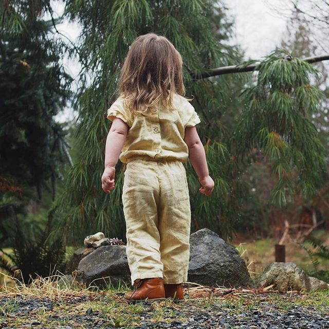 Mickey jumpsuit in primrose and the cutest dimples #linenkidswear #primrose