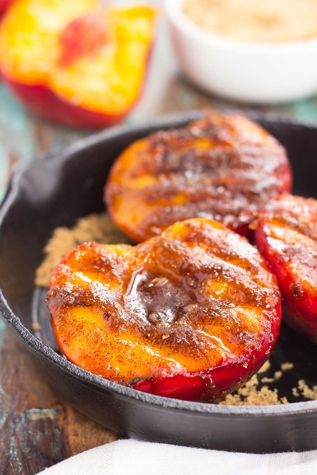 Grilled Peaches With Cinnamon And Brown Sugar Pumpkin N Spice Peach Recipe Grilled Peaches Food