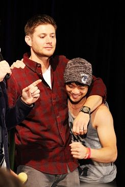"Jensen and Osric #Chicon2013  This is the very end of the J2 panel when Richard crowns Osric as ""Best Fan""...which he deserved.  Look at his bicep, btw, ...told you the little dude was buff!!  Oh, and I touched that.  Yeah, I did! :D  Osric Chau is one of the coolest people in the world."