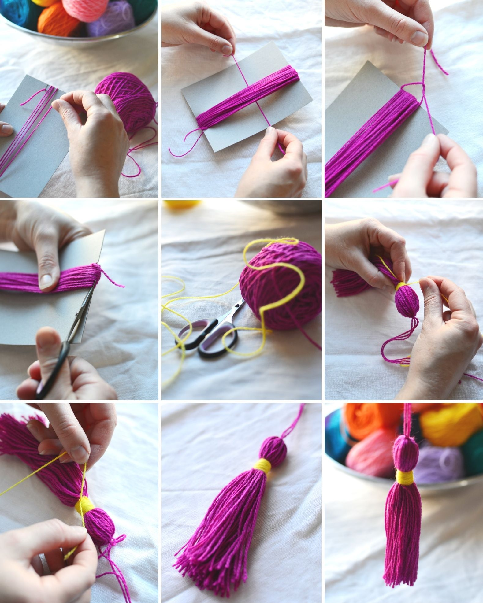 2) How to make a tassel step by step. (see blog for rest of pictures)