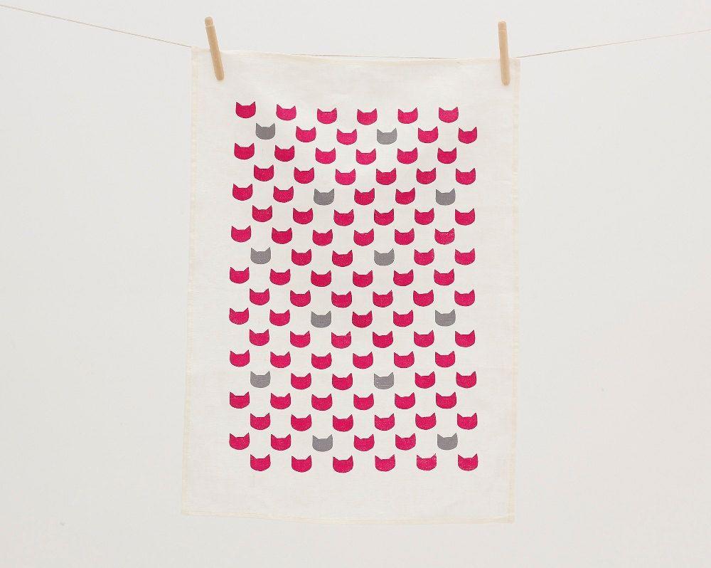 Fuchsia cats grey tea towel screen printed linen etsy