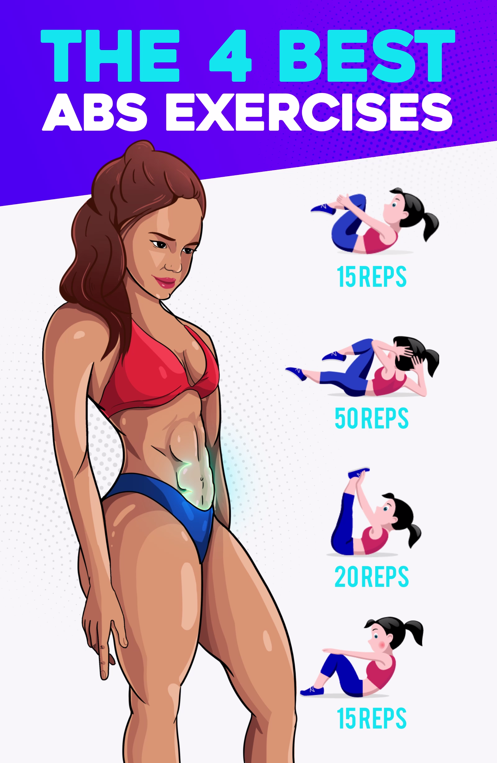 The Best ABS Exercises -   With just four exercises you can lose weight. These effective exercises w...