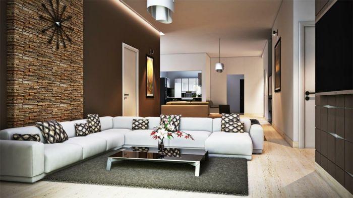Einzimmerwohnung, Steinwand Wohnzimmer, Weiße Couch Und Niedriger Couchtisch