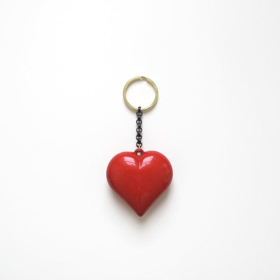 Red Plastic Heart Keychain / Reclaimed Vintage Key by goldeluxe, $18.00