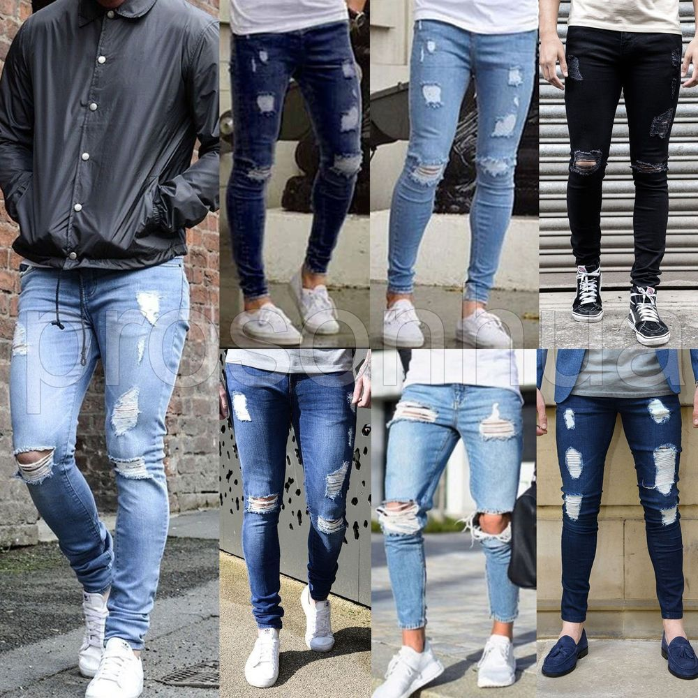 Mens Super Skinny Stretch Ripped Destroyed Denim Stylish Jeans Pants Trousers