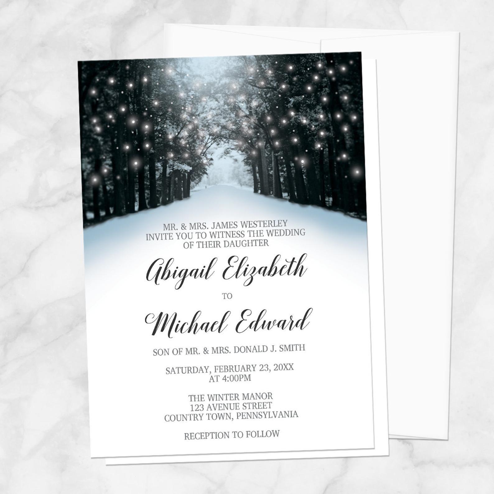 Winter Hochzeitseinladungen, Snowy Road Tree Lights – Winter Wunderland Hochzeitseinladungen – gedruckt   – Wedding Dreams