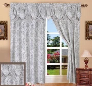 Penelope Curtain With Attached Valance Silver Grey
