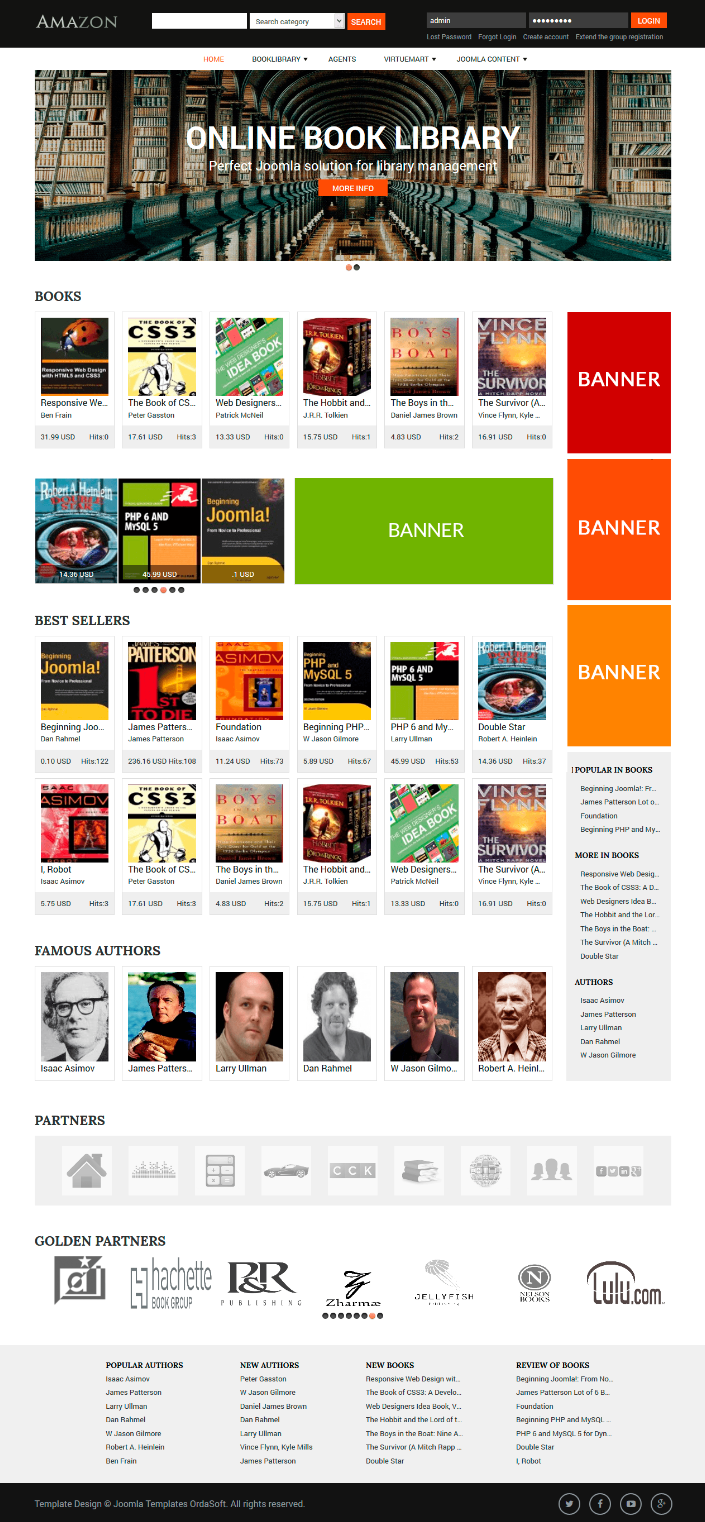 Meet Amazon Modern Library Website Design Template With Built In Features For Creating