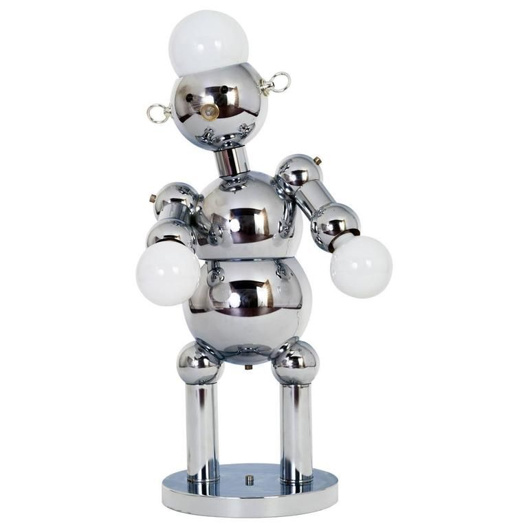 Space Age Italian Robot Table Lamp In Chrome By Torino Lamp Table Lamp Chrome Lamp