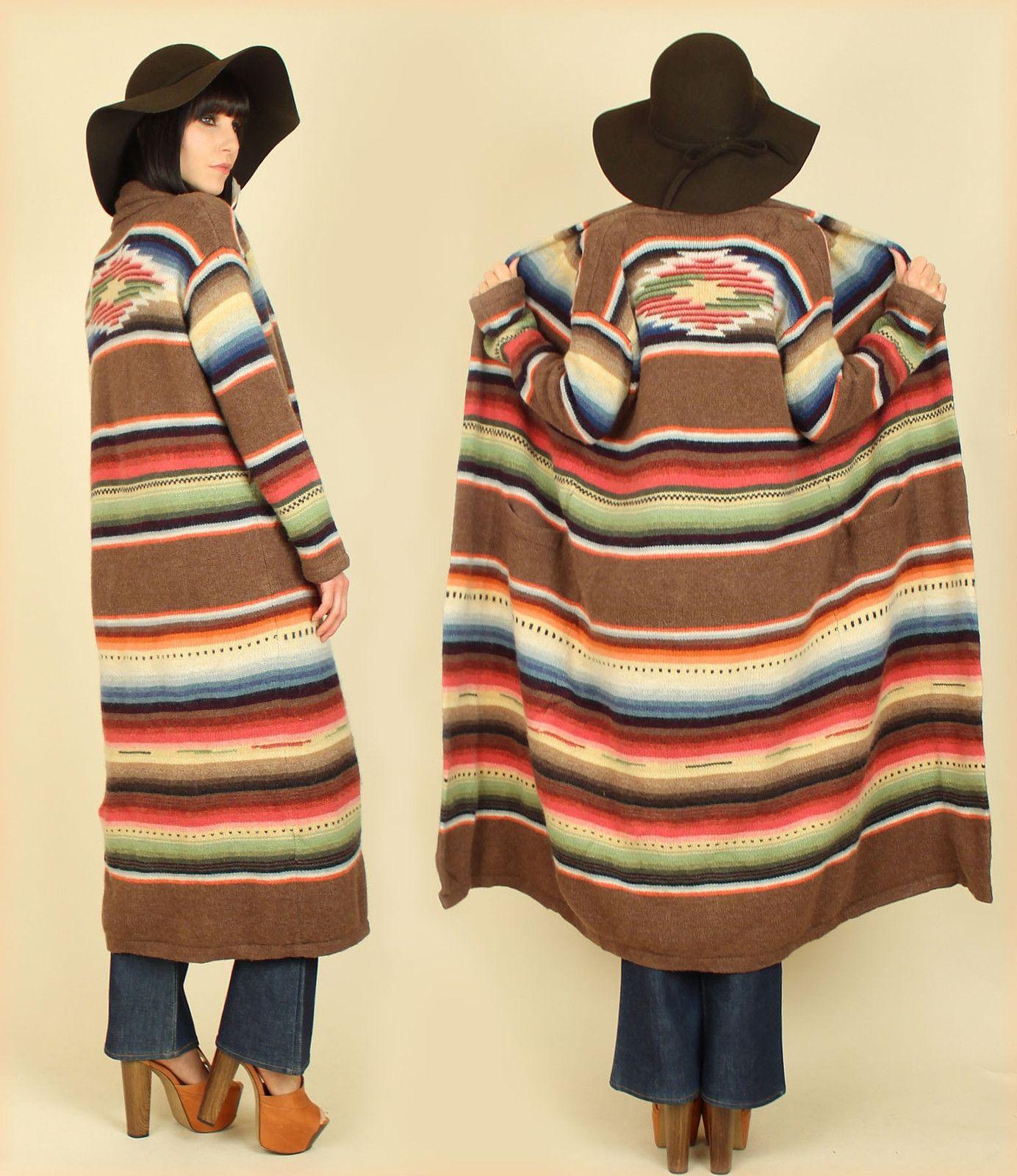 RALPH LAUREN Indian NAVAJO Blanket HAND KNIT Wool Southwestern SWEATER  Duster M   eBay f1e3bc6096
