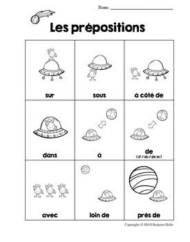 french prepositions les pr positions handout poster free. Black Bedroom Furniture Sets. Home Design Ideas