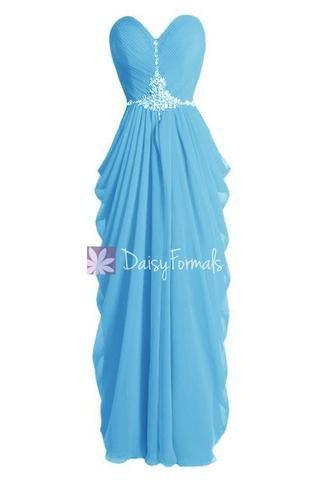 5de2107f3b6c4 Beaded Blue Chiffon Dress Beach Wedding Dress Long Sweetheart Bridesmaid  Dress(PR72168) – DaisyFormals-Bridesmaid and Formal Dresses in 59+ Colors