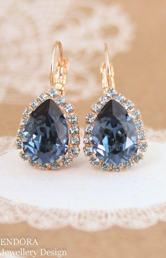 Blue Crystal EarringsBlue Swarovski EarringsSwarovski Montanablue Teardrop Earringsblue Statement Earringsrose Gold Earringsteardrop