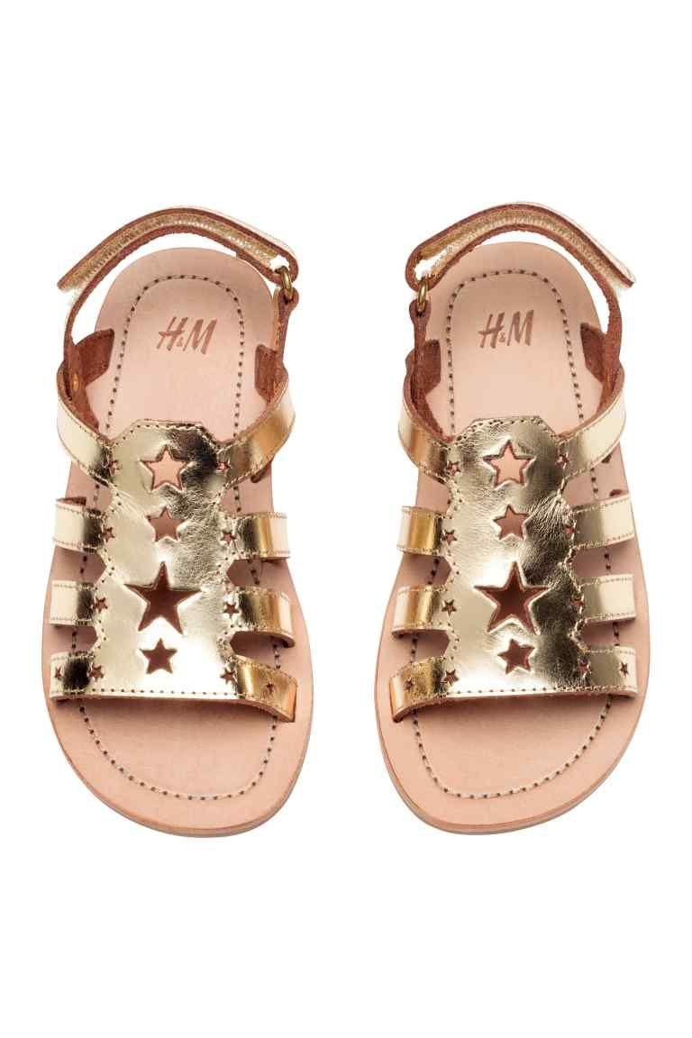1cee8296a40 Leather sandals - Gold - Kids