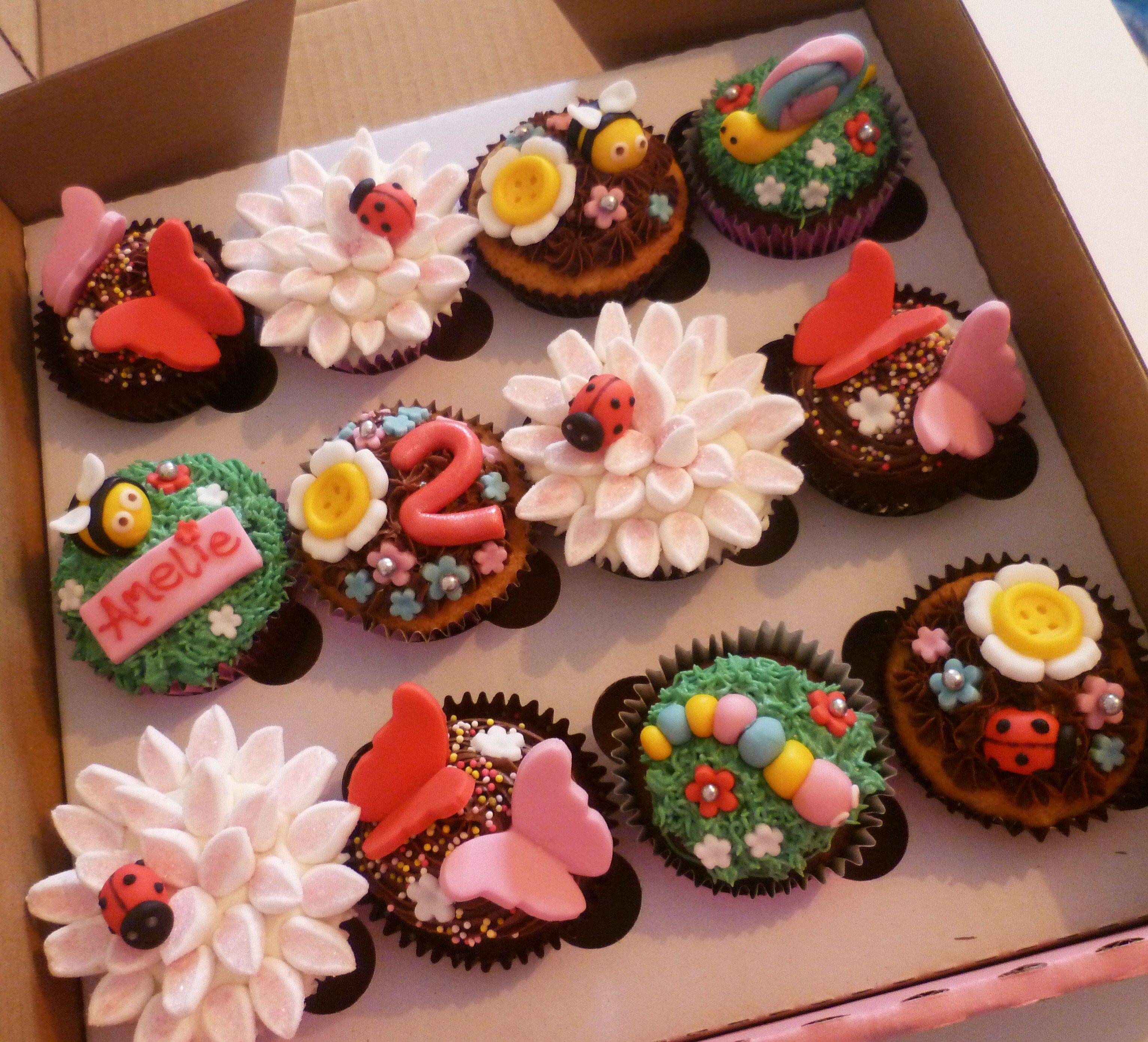 Garden Bug Themed Cupcakes