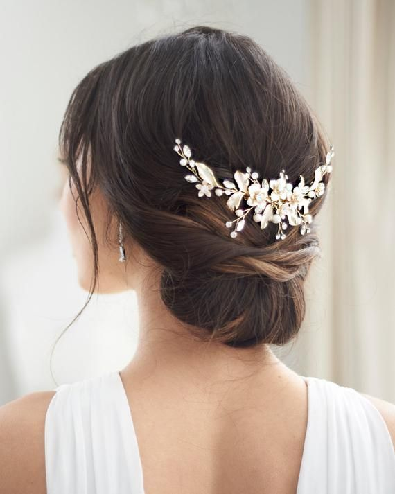Gold Floral Wedding Back Piece, Pearl Bridal Comb, Gold Flower Comb, Floral Wedding Accessory, Crystal Comb, Rhinestone Gold Comb ~TC-2326